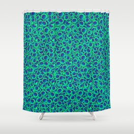 Turquoise Blue Circles Shower Curtain