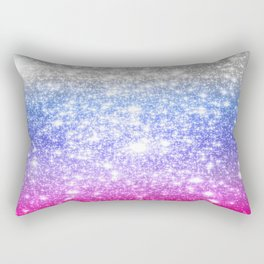 Galaxy Sparkle Stars Periwinkle Pink Rectangular Pillow