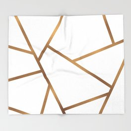 White and Gold Fragments - Geometric Design Throw Blanket
