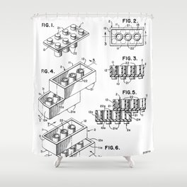 Legos Patent - Legos Brick Art - Black And White Shower Curtain