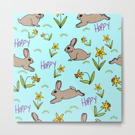 Hoppy Happy Sweet Spring Bunny Floral Design Metal Print