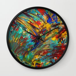 FIREWORKS IN COLOR - Bold Abstract Acrylic Painting Lovely Masculine Colorful Splash Pattern Gift Wall Clock