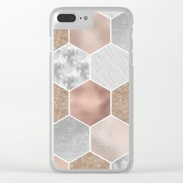 Gentle rose gold and marble hexagons Clear iPhone Case