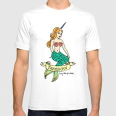 MERMACORN Mens Fitted Tee SMALL White