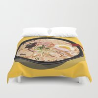 ramen Duvet Covers featuring ITADAKIMASU::RAMEN by Gloria Kum ::Crunchyshimp::