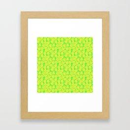 Big Monstera Tropical Leaf Hawaii Rain Forest Lemon Yellow and Lime Green Framed Art Print
