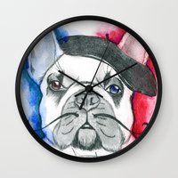 frenchie Wall Clocks featuring Frenchie by Irasema Langarica