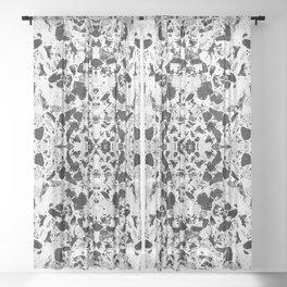 Beautiful Black and White Terrazzo Tile Sheer Curtain