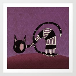 Black Curious Cat IV Art Print