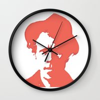 tom waits Wall Clocks featuring Tom Waits in Red by JennFolds5 * Jennifer Delamar-Goss