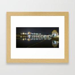 Prague Castle and Charles Bridge at night Framed Art Print