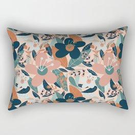 Pink & Blue Floral Pattern Rectangular Pillow