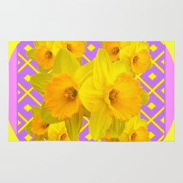 Golden Yellow Daffodils Bouquet Garden Lilac Art Rug