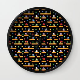 Bubble Bobble Retro Arcade Video Game Pattern Design Wall Clock