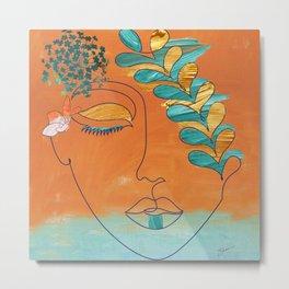 Monoline Woman Gilded Flowers Metal Print