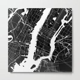 New York City Black On White Metal Print