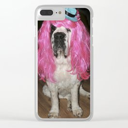 Funny St Bernard dog clowning around Clear iPhone Case