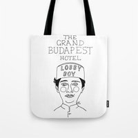 budapest hotel Tote Bags featuring The Grand Budapest Hotel by ☿ cactei ☿