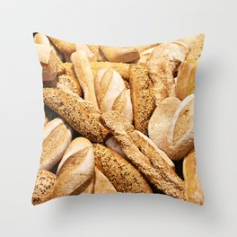 Bread baking rolls and croissants Throw Pillow
