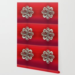 Cyan Bloom on Red Wallpaper