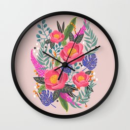 Romantic Blossom, flower print, floral print Wall Clock