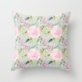 Shabby Chic Bluebirds and Roses Throw Pillow