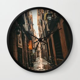 Barcelona Alley | Tilted Alleyway Streets in the City High Buildings Charming Moody Architecture  Wall Clock