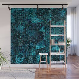 Starry Deep Blue Night Sky , Abstract Geometric Pattern with Moon Lit Domino Stars Wall Mural