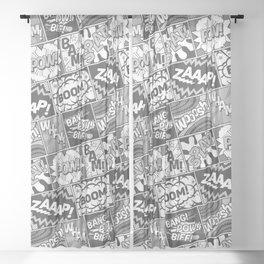 Black and White Modern Comic Book Superhero Pattern Color Colour Cartoon Lichtenstein Pop Art Sheer Curtain