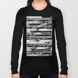 Black And White Layered Collage - Textured, mixed media Long Sleeve T-shirt