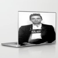 johnny cash Laptop & iPad Skins featuring Johnny Cash Mugshot by Neon Monsters