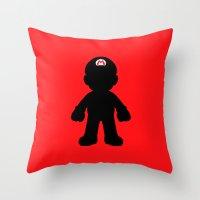 mario Throw Pillows featuring Mario by Jessica Wray