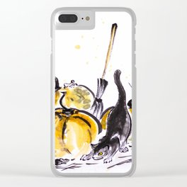Trick or treat 2 a cat and mice near a pumpkin sumie painting autumn harvest halloween Clear iPhone Case