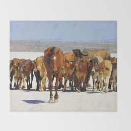 Pony leading the mob home Throw Blanket