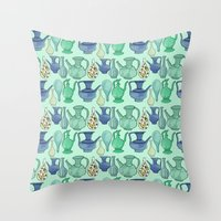 persian Throw Pillows featuring Persian Pots by Katie L Allen