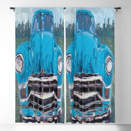old blue car Blackout Curtain