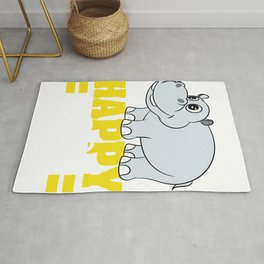 I'm a hippo, a happy hippo. A cute Happy Hippo T-shirt Design Fat Thick Animal Gray Hippopotamus Rug