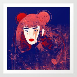 Kimiko (Electric Blue) Art Print