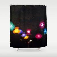 lanterns Shower Curtains featuring Tea Lanterns by NL Designs