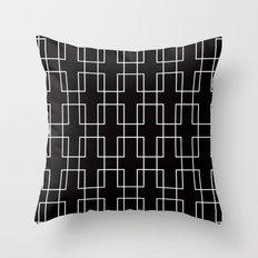 White outline rectangles on black Throw Pillow