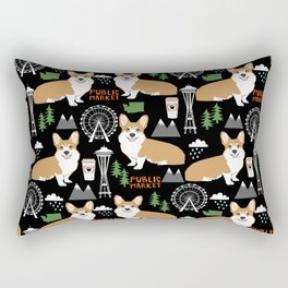 Corgi in Seattle - cute corgi dogs coffee, space needle, ferris wheel print Rectangular Pillow