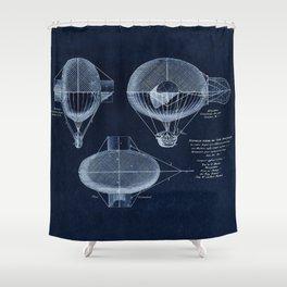 Antique Blueprint French Balloon Airship, Steampunk Shower Curtain