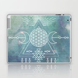 Mandala Flower of Life in Turquoise Stars Laptop & iPad Skin