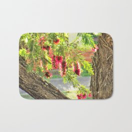Red Bottle Brush Bath Mat