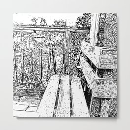 Wooden bench - Special place carved in white and black Metal Print