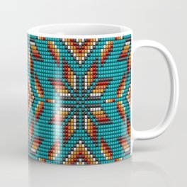 Modern colorful beaded boho aztec kilim pattern on teal Coffee Mug