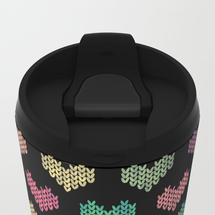 Colorful Knitted Hearts VI Metal Travel Mug
