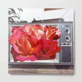 Retro TV with Rose Bouquet Collage Metal Print