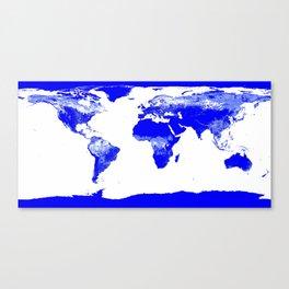 World map Blue & White Canvas Print