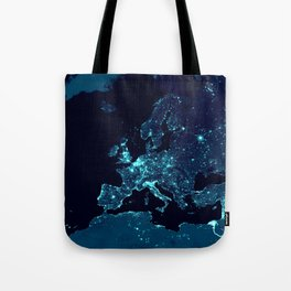 Earth's Night Lights : Teal Tote Bag